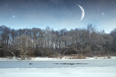 Winter river at night. landscape of Eastern Europe Stock Images