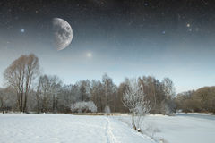 Winter river at night. landscape of Eastern Europe Stock Photo