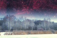 Winter river at night. landscape of Eastern Europe Royalty Free Stock Photo