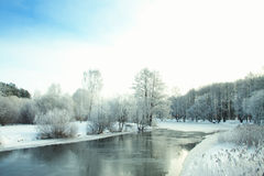 Winter river at night. Royalty Free Stock Photo