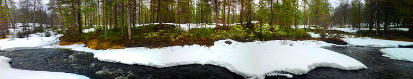 Winter river in the North forest panorama Stock Photos