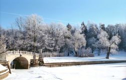 Winter river with old bridge Royalty Free Stock Photo