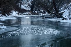 Winter river between old trees. Icy curvy winter river flowing between old snow covered tree branches royalty free stock images