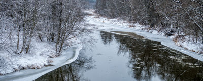 Winter river panorama view Royalty Free Stock Images