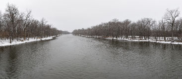 Winter river panoramic Stock Photos