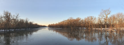 Winter river panoramic Royalty Free Stock Image