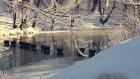 Winter river in park. Winter wonderland. Frozen river in winter park stock video footage