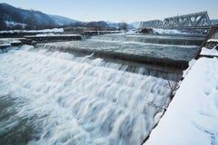 Winter river rapids. Dawn light Stock Photos