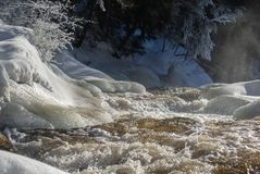 Winter River Scene in Arrowhead Provincial Park stock photography