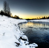 Winter river scenery Stock Photography