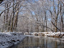 Winter river. Small winding river in the winter with snow covered banks and frosted trees Royalty Free Stock Photo