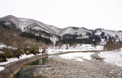 Winter river with snow all over and forest background Royalty Free Stock Photography