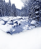 Winter river and snow border Royalty Free Stock Photography