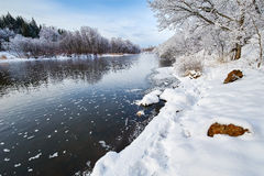 The winter river and snow Royalty Free Stock Photography