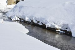 Winter. River. Snow. water. the river flows. shadow. the snow is melting. open water. A stream is a body of water with surface water flowing within the bed and stock photo