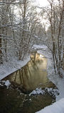 Winter river. Snowfall. Winter landscape on the river. Stock Image