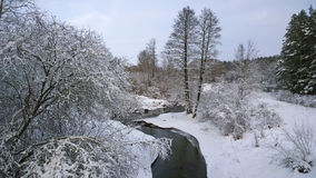 Winter river. Snowfall. Winter landscape on the river. Royalty Free Stock Photo