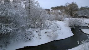 Winter river.  Winter landscape on the river. Royalty Free Stock Images
