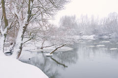 Winter river, when it is snowing. In afternoon stock images