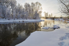 The winter river and soft rime scenery Royalty Free Stock Photography