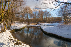 Winter river, the sun and snow 2016 Royalty Free Stock Photos