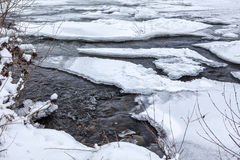 Winter river under ice Stock Photos