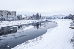Winter river under ice Royalty Free Stock Images