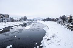 Winter river under ice Royalty Free Stock Image