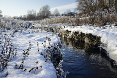 Winter river. In a village near Kursk Stock Image