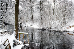 Winter river. Winterriver in forest mid Sweden stock photos