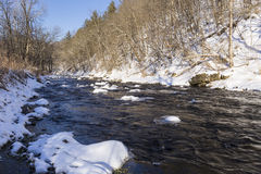 Winter River In The Woods Stock Photography