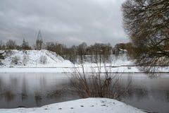Winter on riverside in Estonia, Narva town. Stock Images