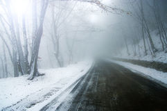 Winter road. Misty winter road with white snow Stock Photo
