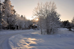 Winter road. A snowy road wintertime in Sweden royalty free stock photo