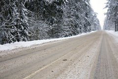 Winter road. The road passing through winter forest Stock Photos