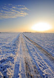 Winter road. Country winter road at clear winter morning Royalty Free Stock Image