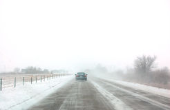 Winter road. Car driving on winter road Royalty Free Stock Image