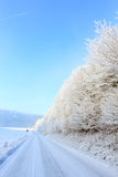 Winter road. Cold and snowy winter road with blue sky Stock Photo
