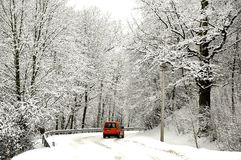 Winter Road. In deep snow Stock Images