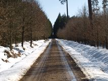 Winter road. A long, straight road winter . South Bohemia stock images