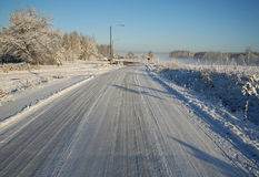 Winter road. On a clear day Stock Images
