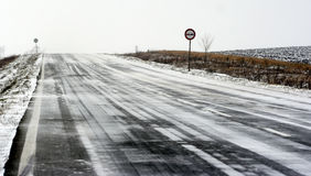 Winter road. View of the snow road in winter time Stock Image
