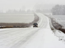 Winter road. View of the snow road in winter time Stock Photos