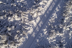 Winter road aerial shot Royalty Free Stock Photography