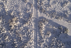 Winter road aerial shot Stock Photos
