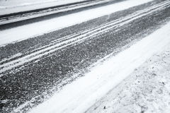 Winter road background, asphalt and snow Stock Image