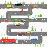 Winter road with cars Stock Photos
