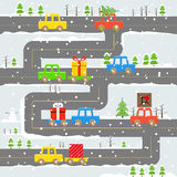 Winter road with cars illustration Royalty Free Stock Photo