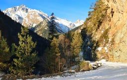 Winter road in Caucasus Royalty Free Stock Photo