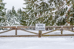 Winter Road Closed Stock Photos